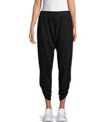 shirred cotton-blend pants