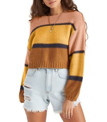 women's billabong seeing stripes boat neck cotton sweater