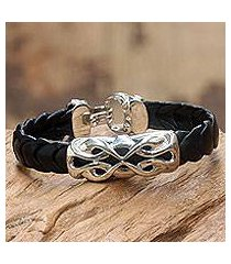 men's sterling silver and leather braided bracelet, 'infinity' (indonesia)