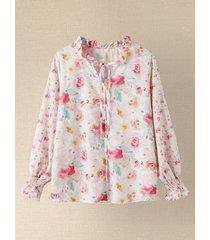 camicetta con stampa floreale con bottoni annodati con scollo a v e maniche lunghe lanterna