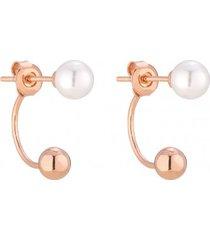 kolczyki w różowym złocie z perłami swarovski® crystal