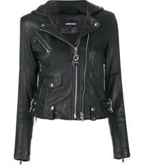 diesel studded biker jacket - black