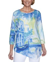 alfred dunner women's missy look on the brightside scenic top