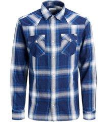 overhemd lange mouw jack & jones 12163963 jjewestern indigo check shirt ls noos navy blazer