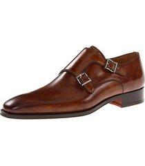 handmade men double monk strap leather shoes men fashion dress leather shoes,