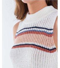 camiseta para mujer manga sisa y cuello alto en bloques de color y tejido de punto suave al tacto