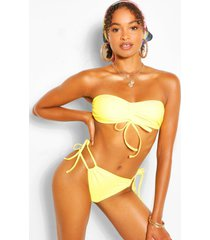 ruched bandeau tie side bikini, yellow