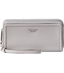 kate spade new york women's anita double-zip leather wristlet wallet - soft taupe