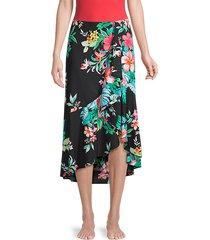 floral-print flounce skirt