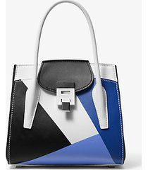 mk borsa a mano bancroft media in pelle di vitello color block - periwinkle - michael kors