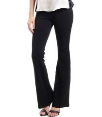 calça 101 resort wear flare elastano neoprene preta bolsos