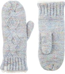 isotoner signature women's recycled yarn mohair cable knit mittens