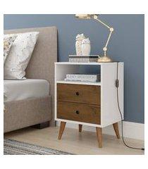 mesa de cabeceira retrô  domus - branco / malbec - rpm móveis