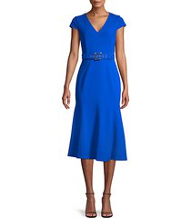 belted cap-sleeve flare dress