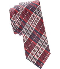 madras plaid silk slim tie