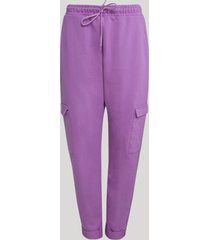 calça de moletom feminina cargo cintura alta lilás