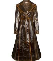 rejina pyo patent leather effect trench coat - brown