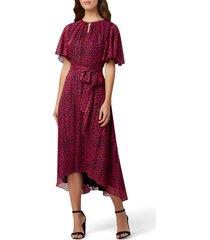 women's tahari metallic dot chiffon midi dress