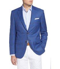 men's big & tall peter millar classic fit plaid wool sport coat, size 50l - blue