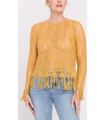 endless rose fringed crochet lace top