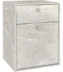 conjunto p/ banheiro c/ espelheira e gabinete c/ cuba eva 50cm mb bosi cinza