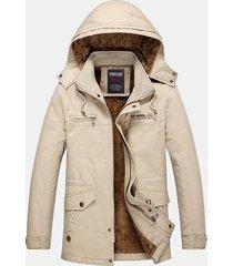 inverno plus dimensione mid lunghezza giacca termica antipioggia con imbottitura in pile