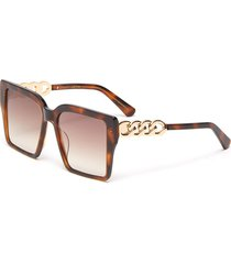 chain detail tortoiseshell effect acetate square frame sunglasses
