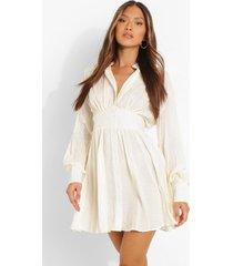 dobby blouse jurk met geplooide shoulder, cream