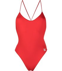 off-white arrows logo strap swimsuit - red
