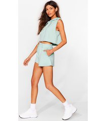 womens perfect match cropped hoodie and shorts set - mint
