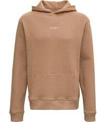 axel arigato beige organic cotton hoodie with logo