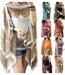 women summer chffion blouses beach shirts shawl flower scarf women tops with pea