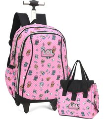 kit mochila de rodinha  lol surprise  luxcel  51316 rosa - preto - menina - dafiti