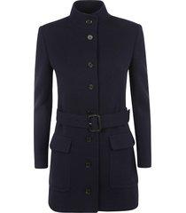 saint laurent high-neck belted jacket