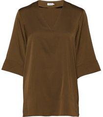 silk tunic blouses short-sleeved groen filippa k
