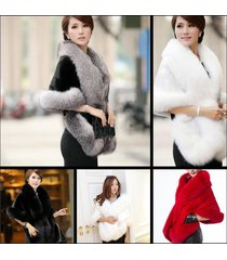 womens faux fur winter warm shawl cloak cape coat wedding jacket wrap stole