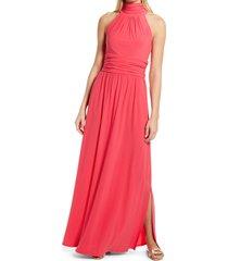 women's eliza j high neck maxi dress, size 16 - pink