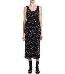 theory women's floral tank midi dress - black - size s