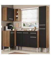 cozinha completa de canto madesa emilly song com armário, balcão e adega rustic/preto rustic