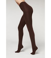 calzedonia thermal super opaque tights woman brown size 3