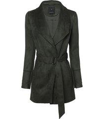 casaco dudalina manga longa suede detalhe tricot feminino (verde militar, 44)