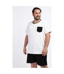 pijama masculino plus size camiseta com bolso manga curta gola careca off white