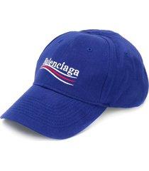 balenciaga logo-embroidered cap - blue