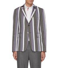 multi-coloured stripe single-breasted blazer