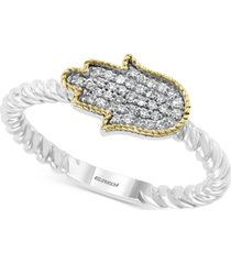 effy diamond pave hamsa hand statement ring (1/8 ct. t.w.) in sterling silver & 14k gold-plate