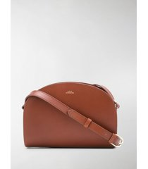 a.p.c. demi lune crossbody bag in brown leather