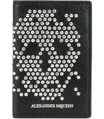 alexander mcqueen abstract skull stud wallet - black