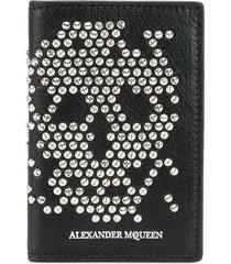 alexander mcqueen abstract skull stud wallet - black