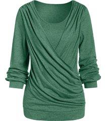 long sleeve round collar marled t shirt