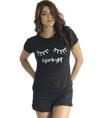 camiseta mujer negro marfil ojos